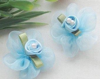 Little blue organza flower, mini flower for wedding, communion, baptism