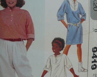 Girls Dress, Tunic, Top and Pants Sewing Pattern - Vintage McCalls Pattern 9419 - Size 14