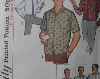 Men's Shirt Pattern, Vintage Simplicity 5029, Neck 15, Sleeve 32-34, circa 1960 - CoPA Pattern
