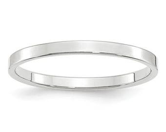 New 10K Solid White Gold 2mm Flat Men's and Women's Wedding Band Ring Sizes 4-14 High Polished Stackable Thumb/ Knuckle Rings