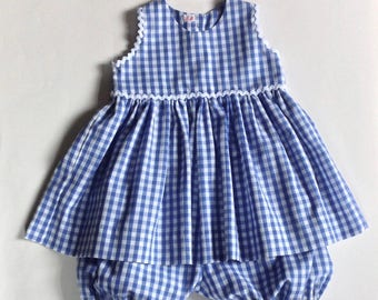 Blue and white gingham with bloomer dress