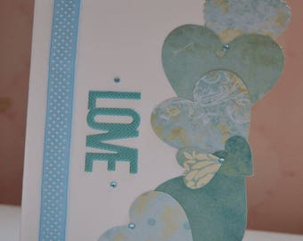 Border of blue hearts Valentine's Day card