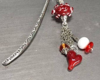 Bookmark in shades of red and white glass. Lampwork Glass Beads