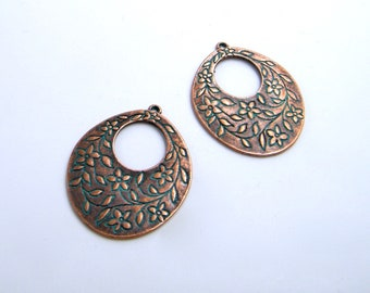 Charms Bohemian - poetic - boho - crafting - jewelry creations - copper patina - Nanou beads