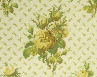 Vintage Wallpaper Röslein Gelb per meter