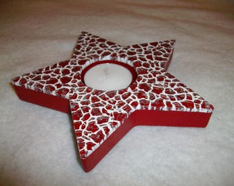 Set of 2 candle holders red mosaic star