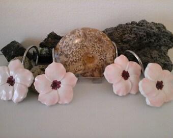 Handpainted 12pcs Sakura flower shower curtain rings/hooks farmhouse bathroom,housewarming,birthday mother's day Valentines day gift for her