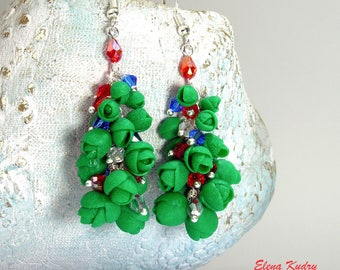 Xmas Tree Earrings Modern Christmas Green New Year Unusual Cluster Jewelry Gift Polymer Clay Holiday Party Earrings Unusual Gift For Girl