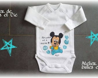 hand painted personalized blue mouse Bodysuit