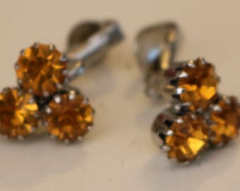 Amber Color Cluster Earrings