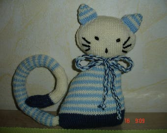 "Plush blue ecru ""cat-cat"""