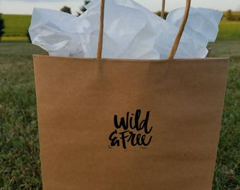 Embossed Wild & Free gift bag, envelope and gift tag