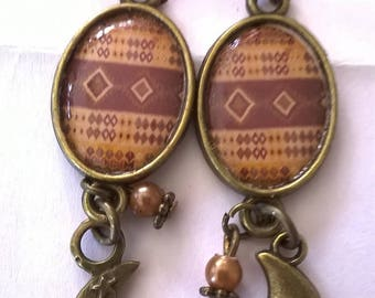 Earrings bronze superb cabochon beautiful pattern ethnic tones light and dark brown