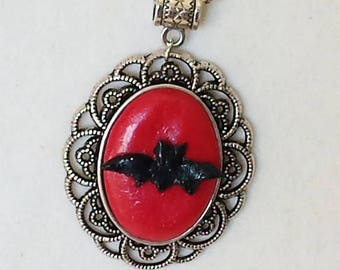 "Silver chain and pendant polymer clay collection ""Halloween"" bat necklace"