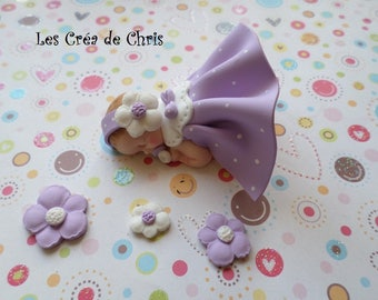 polymer clay girl baby dress with lace effect collar.