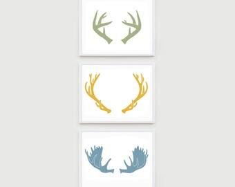 Woodland Nursery Art Prints, Deer, Moose & Elk Antler print set, Kids Woodland Decor, Woodland Animal Print, Pick Your Color