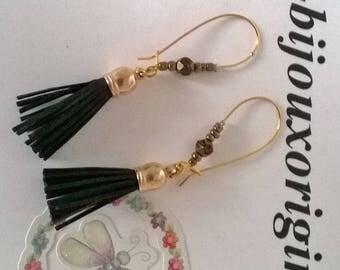 """Earrings in the shape of """"black leather tassels"""""""