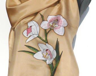 Scarf - silk scarf - handpainted - figurative series - ochre, white, pink