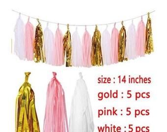 15PCS Gold Pink White  Colors Handmade Tissue Paper Tassel Garland Tissue Paper Fringe Bunting  Garland Pom For Baby Shower Wedding Birthday