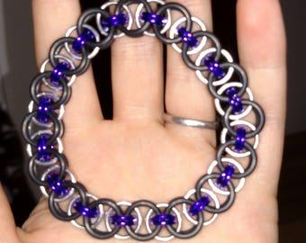 Purple and black helm chain bracelet