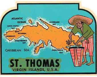 Vintage Style St. Thomas Virgin Islands USA  Travel Decal sticker