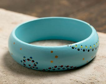 Wooden Bangle handpainted - blue - Art Mandala