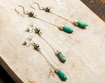 Dangling earrings - 925 Sterling Silver - Green Opal drop and Pyrite