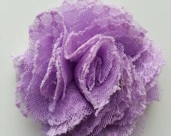 fleur gauffrée mauve 70mm
