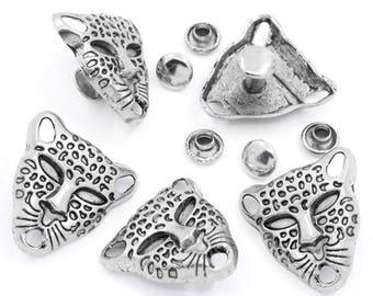 Rivet silver leopard head (x 1)