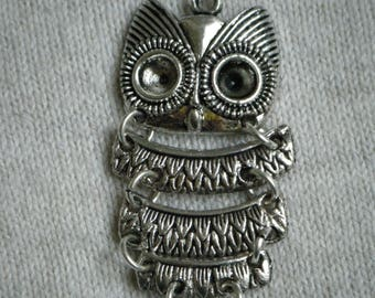 Charm / pendant articulated OWL metal silver x 1