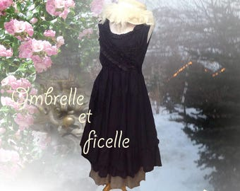 Black linen and lace dress