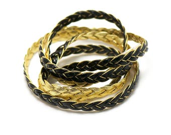 1 m cord strap braided 7 x 2 mm, faux leather, black/gold