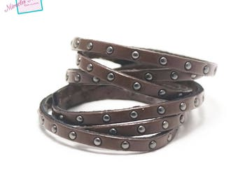 "0.95 m Strip split leather 5 x 2 mm ""studded plain"", Brown"