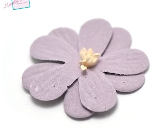 4 flowers in faux leather (suede) 45 X 10 mm, lilac