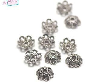 "20 ""six rings"", 12 mm silver bead caps"