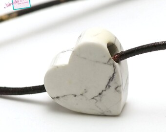 "1 howlite pendant ""heart big hole"" 29 x 29 x 13 mm, natural stone"