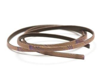 """1 m strap leather 5 x 2 mm, doubled """"Comet"""" beige/gold"""
