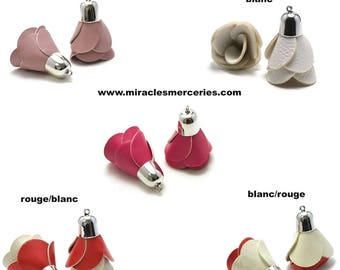 """2 """"pink"""" imitation leather tassels 50 x 30 mm silver Bell 5 color choices"""