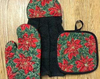 Poinsettia Theme Oven Mitt, Pot Holder and Hanging Towel Kitchen Set
