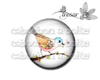 PA247 cabochons glass manual Retro multicolored flowers, birds