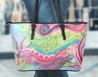 Large Vegan Leather Tote - Abstract01-01