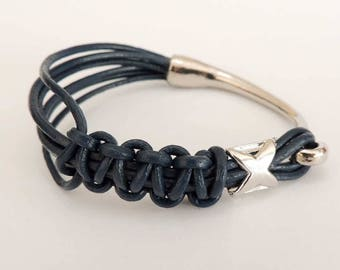 Leather Bracelet blue gray, macrame necklace with metal hook clasp