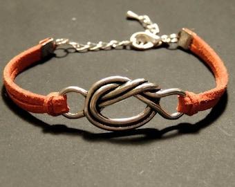 Suede Tan colour, metal knot bracelet
