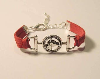 Red Suede, metal horse Medallion bracelet