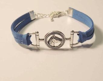 Bracelet Blue Suede backed, horse metal Medallion