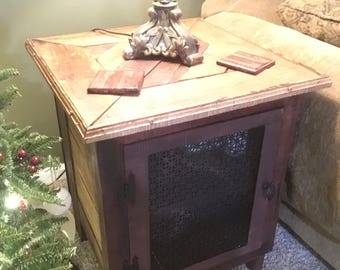 Rustic Cabinet End Table