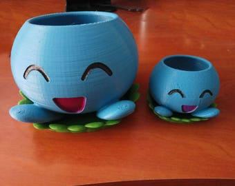 Oddish Planter with Saucer 3D Printed | Pokemon Planter