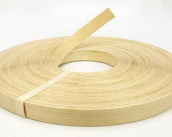 "White Birch Wood Veneer Edge Banding Unfinished Preglued Roll Width 3/4"" 13/16"" 7/8"" 2"" X Length 50' 250'"