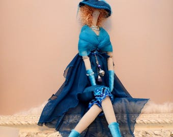 tilda blue Lady, satin, chiffon and sailing inspired cloth doll