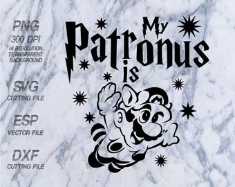 My Patronus is Mario Harry Potter Quote ,SVG,Clipart,esp,dxf,png 300 dpi